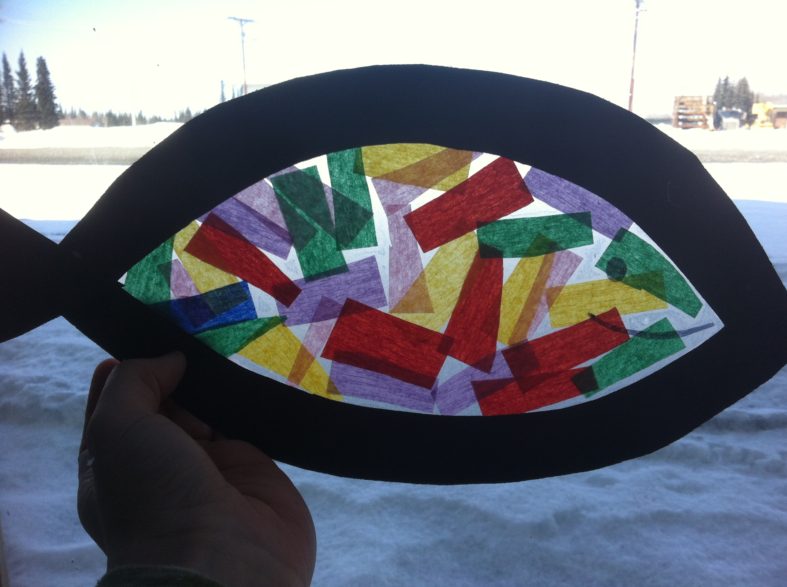 Stained glass fish craft for kids pinterest inspiration for Stained glass window craft with tissue paper