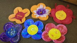 All of the paper plate flowers complete.  We painted the plates, then hot glued them together.