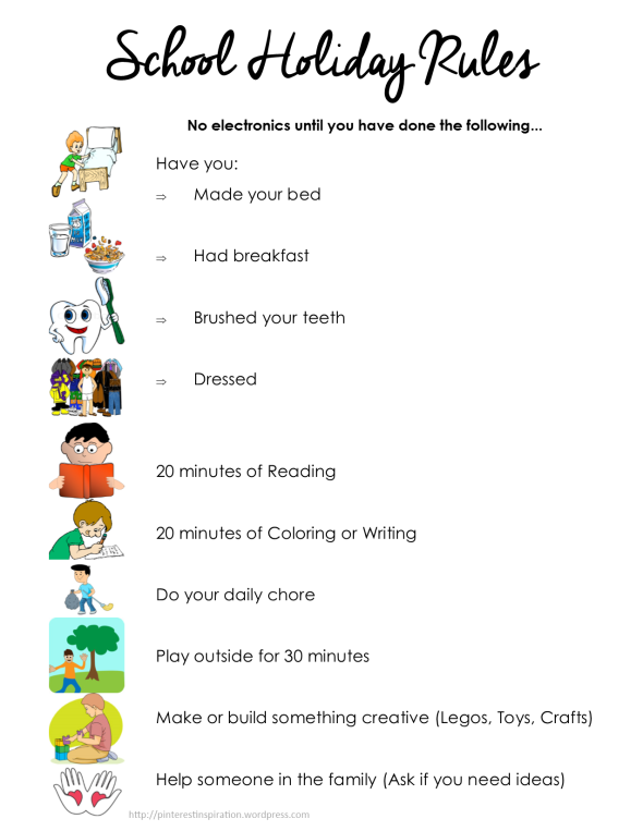 Summer Task List For Kids