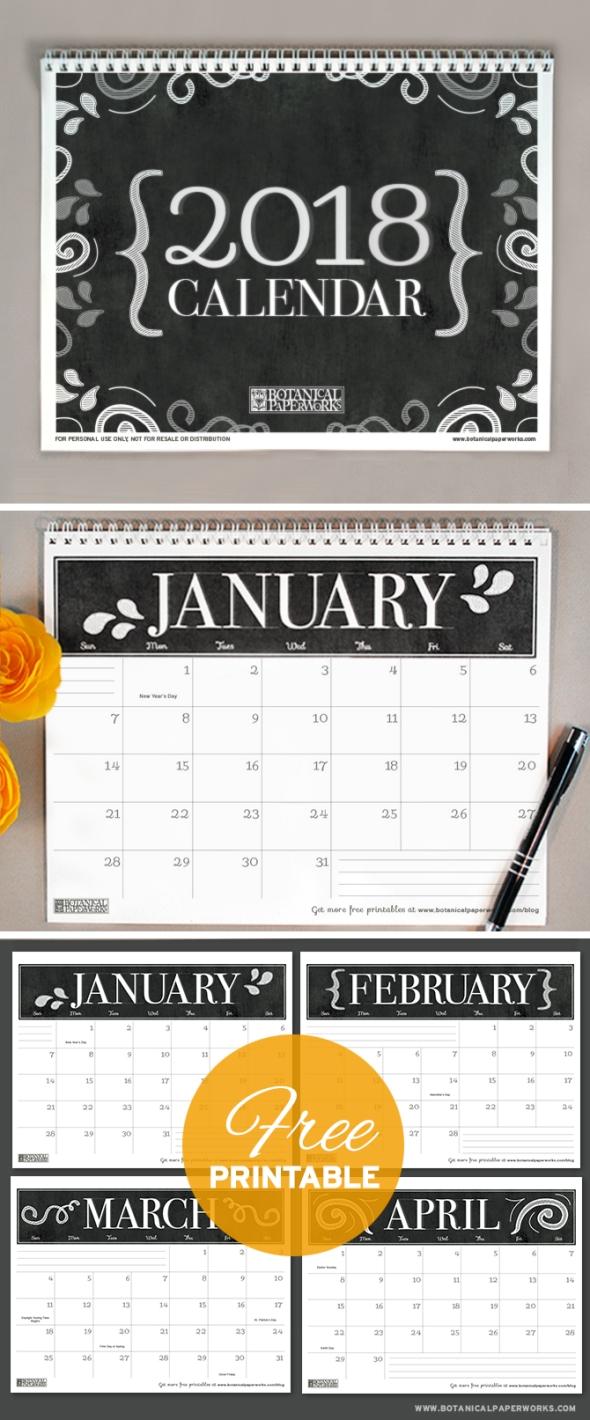 Free-Printable-Calendar-2018-Chalkboard