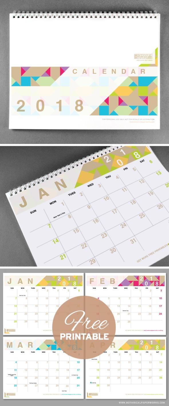 Free-Printable-Calendar-2018-Geometric