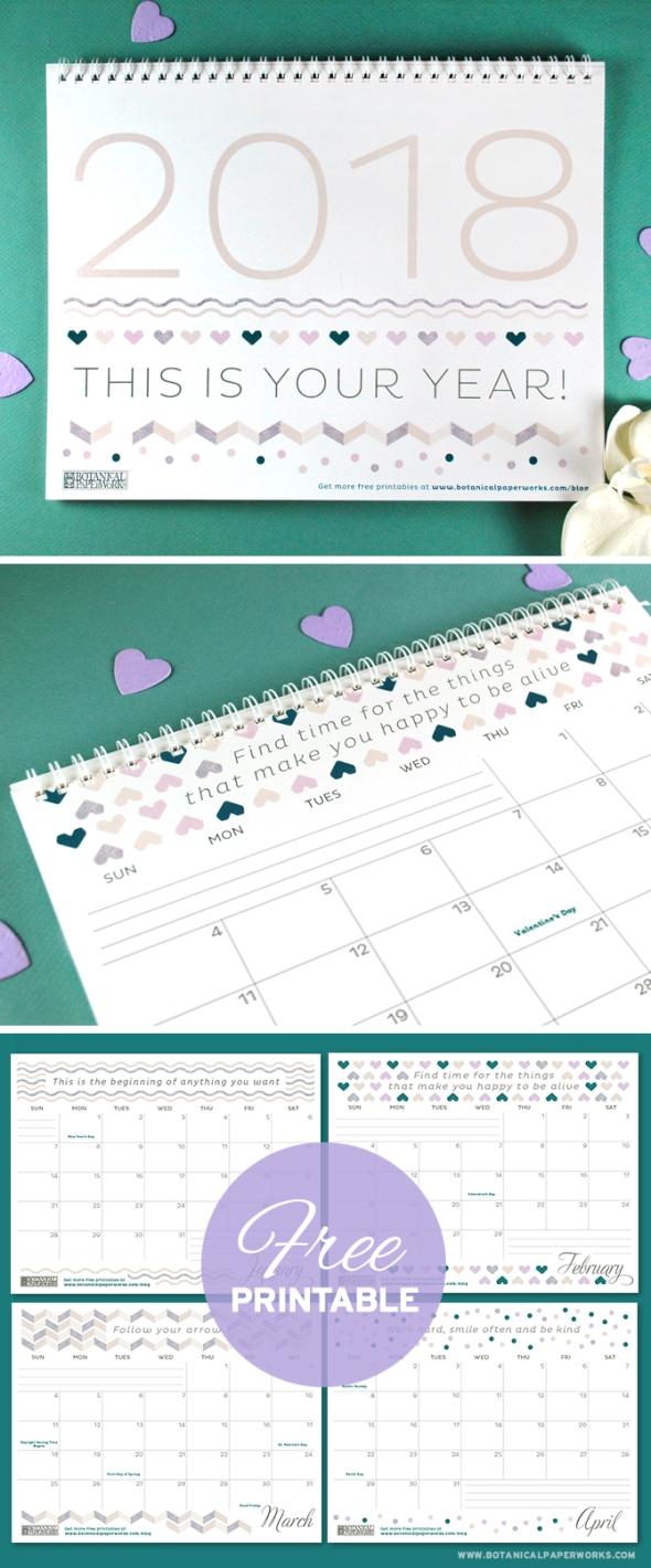 Free-Printable-Calendar-2018-Pattern
